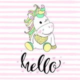 Hello in unicorn typography and unicorn illustration vector. Illustrations for children. Baby Shower card.  Stock Image
