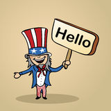 Hello from USA people design Stock Images