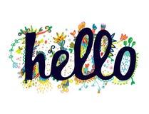 Hello uttrycker rolig klistermärkedesign Royaltyfria Foton