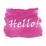Hello uttrycker vattenfärgen Arkivfoto