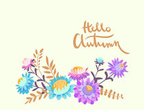 Hello utumn. Hand drawn illustration with asters Royalty Free Stock Photo