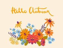Hello utumn. Hand drawn illustration with gerberas Royalty Free Stock Image