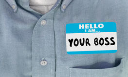 Hello Uw Chef- Words Name Tag-Stickeroverhemd stock illustratie