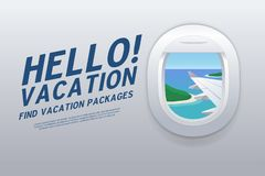 Hello Vacation. View from airplane window. Vacation destinations. Tropical beach. Vector illustration stock illustration