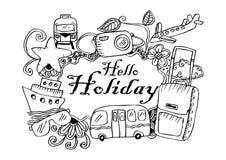 Hello-vakantie doodle Royalty-vrije Illustratie