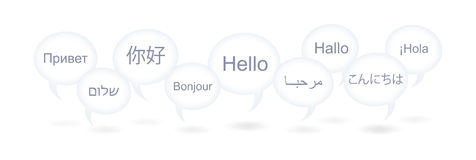Hello in Various Languages Stock Photography