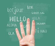Hello in various languages on chalkboard. Hello in various languages on a green chalkboard stock photography
