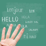 Hello in various languages on chalkboard. Hello in various languages on a green chalkboard royalty free stock photo