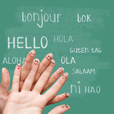 Hello in various languages on chalkboard. Hello in various languages on a green chalkboard stock photos