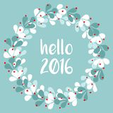 Hello 2016 vector card with wreath Stock Photography