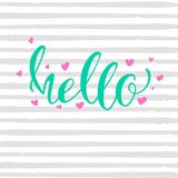 Hello vector inscription card with handwritten text and pink hearts background gray uneven stripes.  Royalty Free Stock Photography