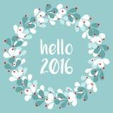 Hello vektorkort 2016 med kransen vektor illustrationer