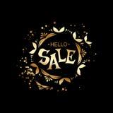 Hello-verkoop het gouden Van letters voorzien Royalty-vrije Stock Fotografie