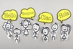 Hello in Verschillende Internationale Globale Vreemde talen Bonjour Ciao Hola Stock Foto's