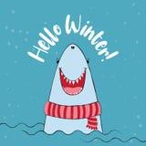 Hello vinter - märka text vektor illustrationer