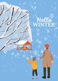 Hello vinter, snölandskap, fågelförlagematare med matning, fåglar, farsa med sonställningen nära ett träd som täckas med snö, vek vektor illustrationer