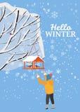 Hello vinter, snölandskap, fågelförlagematare med matning, fåglar, pojkeställning nära ett träd som täckas med snö, vektor vektor illustrationer