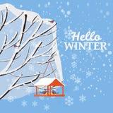 Hello vinter, snölandskap, fågelförlagematare med matning, fåglar, träd som täckas med snö, vektor, illustration som isoleras royaltyfri illustrationer
