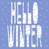 Hello vinter - vit inskrift på en blå bakgrund och snöflingor stock illustrationer