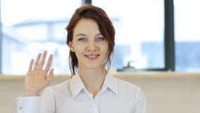 Hello, Vrouwen Golvende Hand stock foto's