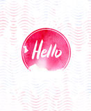 Hello watercolor card. Calligraphy lettering with frame on abstract background. Hand drawn design template. Royalty Free Stock Photography