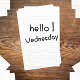 Hello Wednesday on paper Stock Images