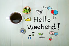 Hello Weekend message with a cup of coffee stock photo