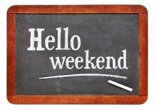 Hello-weekend op bord royalty-vrije stock foto