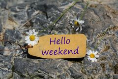 Hello weekend label. Hello weekend text written in the label with chamomile flower on the rock stock photo