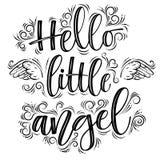 Hello weinig Engel die zwarte die inschrijving van letters voorzien op witte achtergrond wordt geïsoleerd stock illustratie