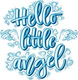 Hello weinig Engel het van letters voorzien in blauwe die inschrijving op witte achtergrond wordt geïsoleerd royalty-vrije illustratie