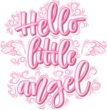 Hello weinig Engel het van letters voorzien in roze inschrijving die op witte achtergrond wordt geïsoleerd vector illustratie