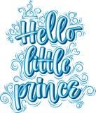 Hello Weinig Prins Hand getrokken creatieve kalligrafie royalty-vrije illustratie