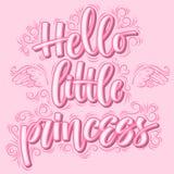 Hello weinig prinses Hand getrokken creatieve kalligrafie stock illustratie