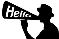 Hello Welcome Celebration Announcer with Megaphone Stock Photos