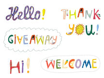 Hello, welcome and other greeting words design set Stock Photos
