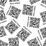 Hello-Wereld! Naadloos vectorpatroon van de odes Ñ  van QR stock illustratie