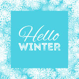 Hello winter abstract background design with snowflakes and snow.  Royalty Free Stock Image