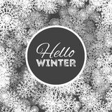 Hello winter abstract background design with snowflakes and snow.  Royalty Free Stock Photography