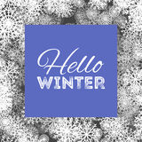 Hello winter abstract background design with snowflakes and snow.  Stock Photography