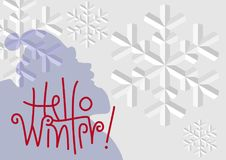 `Hello Winter` Background Royalty Free Stock Images