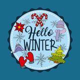 Hello winter badge decoration with tree gloves flower snowflake Stock Photos