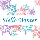 Hello winter banner colorful pastel pink blue purple snowflakes. Vector Royalty Free Stock Image