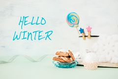 Free Hello Winter Banner With Cookies Stack Gift, Festive Christmas Winter Decor Royalty Free Stock Photos - 133507928