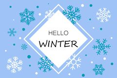 Hello winter blue banner with snowflakes vector illustration
