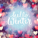 Hello winter, blurred background, Christmas lights Royalty Free Stock Images