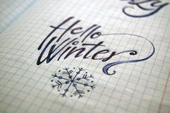 Hello Winter calligraphic background Royalty Free Stock Images