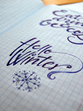Hello Winter calligraphic background Royalty Free Stock Photo