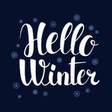 Hello Winter, Calligraphy season banner design, illustration. Hello Winter, Calligraphy season banner design, vector illustration Stock Image