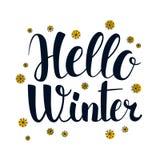 Hello Winter, Calligraphy season banner design, illustration. Hello Winter, Calligraphy season banner design, vector illustration Stock Photography
